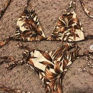 CHEEKY SWIM BROWN FLORAL Bikini